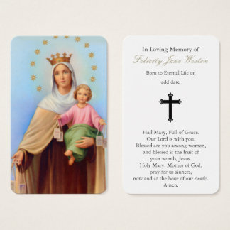 Prayer Card Funeral | Our Lady Mt Carmel
