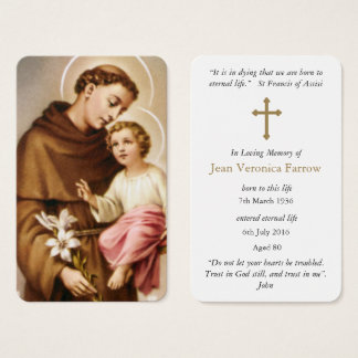 Prayer Card Funeral | St Anthony 3