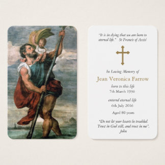 Prayer Card Funeral | St Christopher