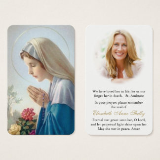 Prayer Card Funeral | Vierge Au Chapelet