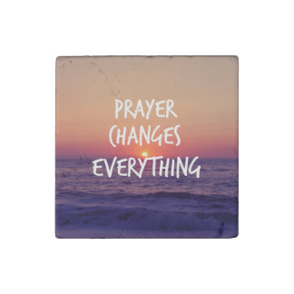 Prayer Changes Everything Christian Quote Stone Magnet