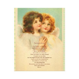 Prayer de señor con ángeles lindos impresion en lona