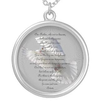 Prayer del señor collar plateado