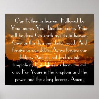 Prayer del señor en una puesta del sol hermosa póster