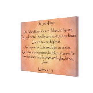 Prayer del señor, fondo anaranjado del vintage lona estirada galerías
