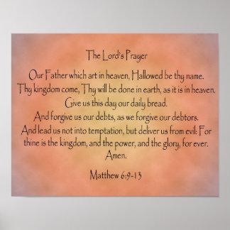 Prayer del señor, fondo anaranjado del vintage póster