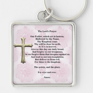 Prayer del señor (rosa) llavero cuadrado plateado