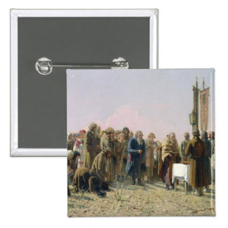 Prayer During the Drought, 1880 2 Inch Square Button