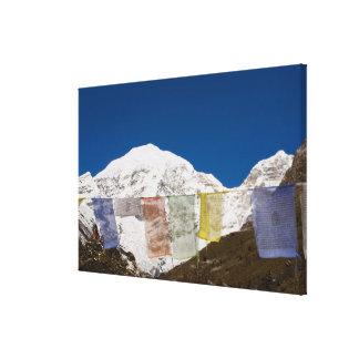 Prayer flags and Mount Jhomolhari, Bhutan. Canvas Print