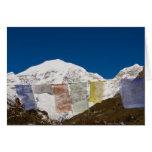 Prayer flags and Mount Jhomolhari, Bhutan. Greeting Cards