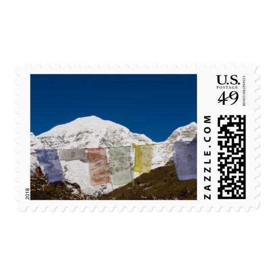 Prayer flags and Mount Jhomolhari, Bhutan. Postage