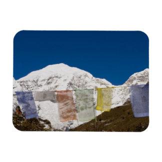 Prayer flags and Mount Jhomolhari, Bhutan. Rectangular Photo Magnet