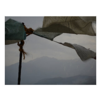 Prayer Flags and Mountains Poster