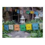 Prayer flags at temple postcard