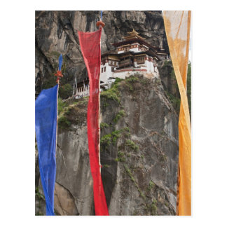 Prayer flags hang near Taktshang Postcard