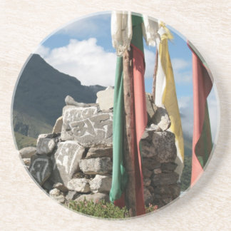 Prayer flags in Nepal Coaster