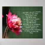 Prayer Flower Religious Poster de nuestro del padr