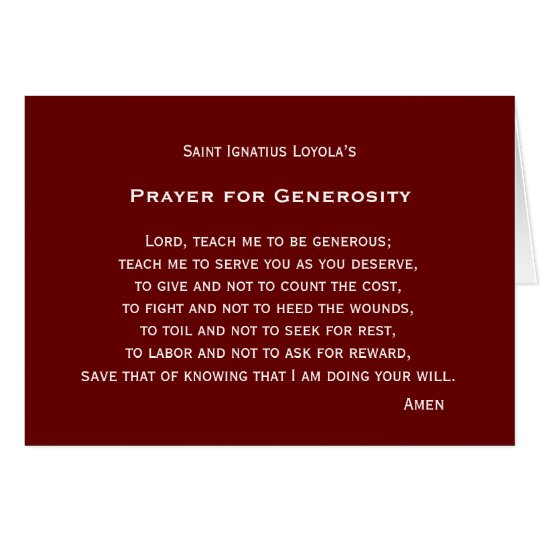 Prayer for Generosity Card