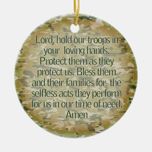 PRAYER FOR OUR SOLDIERS - US MILITARY CHRISTMAS ORNAMENTS