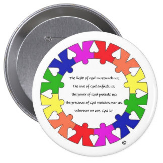 Prayer for Protection in Hands and Hearts Circle 4 Inch Round Button