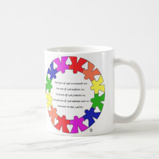 """Prayer for Protection in """"hands and hearts"""" circle Classic White Coffee Mug"""