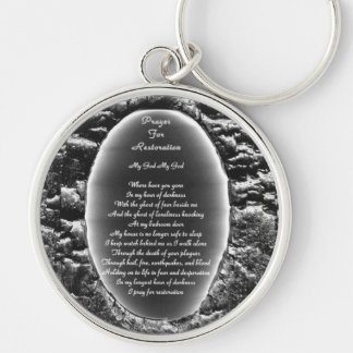 Prayer for Restoration Silver-Colored Round Keychain