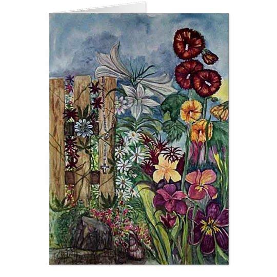 """Prayer Garden With Rosary"" Sympathy Card"