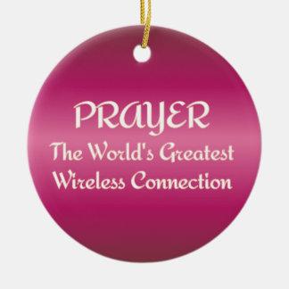 PRAYER - Greatest Wireless Connection Ceramic Ornament