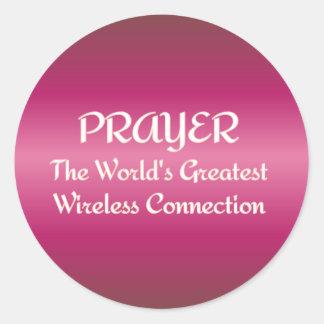 PRAYER - Greatest Wireless Connection Classic Round Sticker