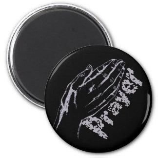Prayer Hand 2 Lilas fond noir Magnet
