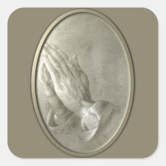 Prayer Hands Square Sticker