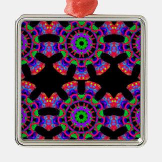Prayer Mandala Design Three Metal Ornament
