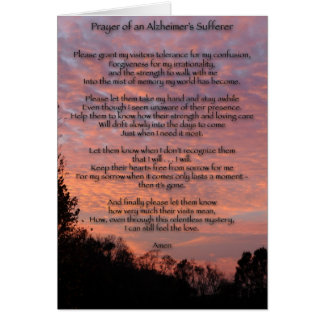 Prayer of Alzheimer's Sufferer Card