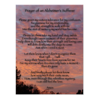 Prayer of an Alzheimer s Sufferer Posters