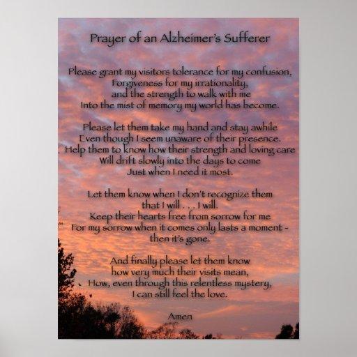 Prayer of an Alzheimer's Sufferer Posters