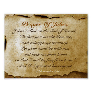 Prayer of Jabez 1 Chronicles 4:10 Bible Poster
