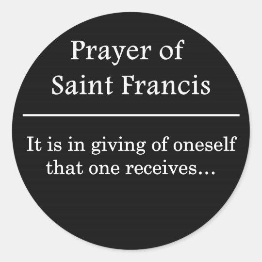 Prayer of Saint Francis Classic Round Sticker
