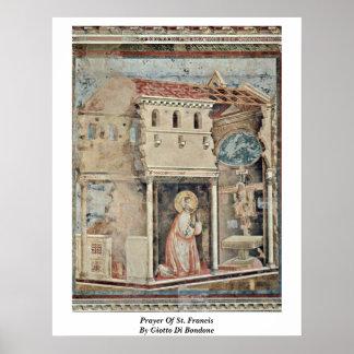 Prayer Of St. Francis By Giotto Di Bondone Print