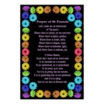 Prayer of St Francis in a Rainbow Flower Border Posters