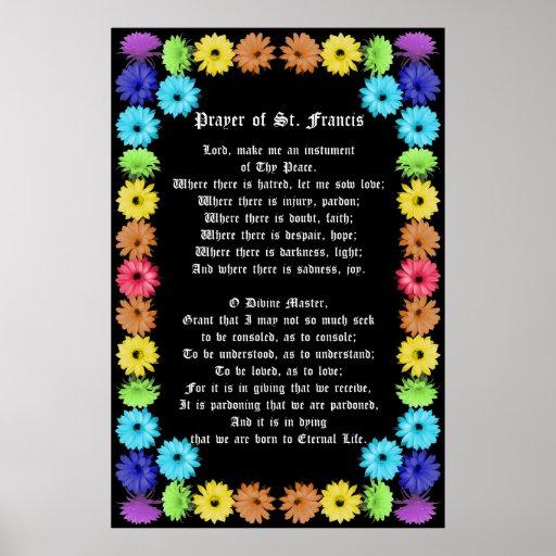 Prayer of St Francis in a Rainbow Flower Border Print