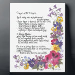 """Prayer of St. Francis Plaque<br><div class=""""desc"""">Treasured and time honored &quot;Prayer of St. Francis&quot; in calligraphy and pressed flowers by Simone Sheppard.  Oxalis,  pansy,  geranium,  larkspur,  verbena and more bring beauty to this colorful arrangement.  Perfect saying for anyone of faith and those seeking guidance,  inspiration,  encouragement or hope.</div>"""