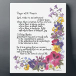 "Prayer of St. Francis Plaque<br><div class=""desc"">Treasured and time honored &quot;Prayer of St. Francis&quot; in calligraphy and pressed flowers by Simone Sheppard.  Oxalis,  pansy,  geranium,  larkspur,  verbena and more bring beauty to this colorful arrangement.  Perfect saying for anyone of faith and those seeking guidance,  inspiration,  encouragement or hope.</div>"