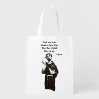 Prayer of St. Francis Reusable Tote Grocery Bags