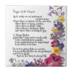 "Prayer of St. Francis Tile<br><div class=""desc"">Treasured and time honored &quot;Prayer of St. Francis&quot; in calligraphy and pressed flowers by Simone Sheppard.  Oxalis,  pansy,  geranium,  larkspur,  verbena and more bring beauty to this colorful arrangement.  Perfect saying for anyone of faith and those seeking guidance,  inspiration,  encouragement or hope.</div>"