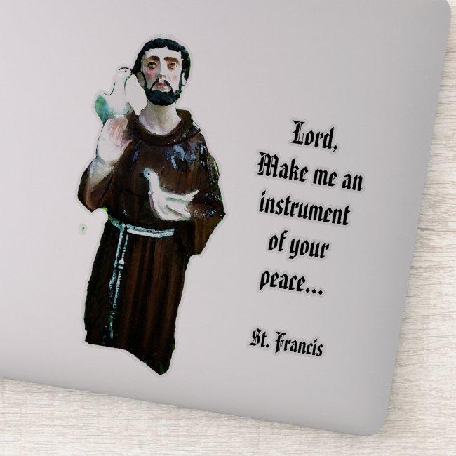 Prayer of St. Francis Vinyl Contour Sticker