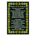 Prayer of St Francis with Daffodil Border Poster