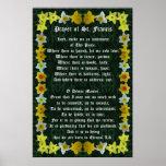 Prayer of St Francis with Daffodil Border Print