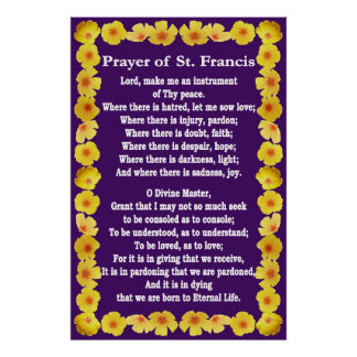 Prayer of St Francis with Golden Poppies Border Poster