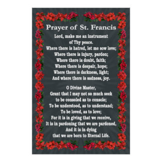 Prayer of St Francis with Poinsettia Border Poster