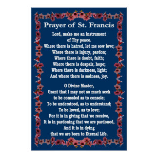 Prayer of St Francis with Tree Bell Border Posters